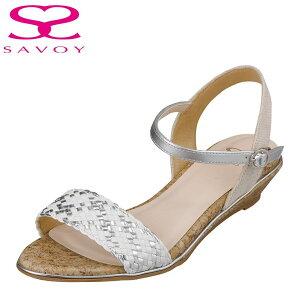 サボイ SAVOY SA94269 レディース靴 靴 シューズ E相当 サンダル 編み込み クッション性 楽 メッシュ クリア素材 ホワイトコンビ TSRC