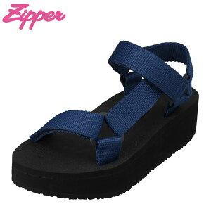 ジッパー Zipper ZP-6169 レディース靴 靴 シューズ 3E相当 サンダル スポーツサンダル スポサン ぺたんこ フラットソール 厚底 厚めソール ネイビー TSRC