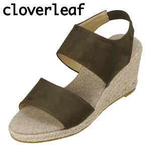 クローバーリーフ cloverleaf CL-135 レディース靴 靴 シューズ 2E相当 サンダル ウェッジソール ゴムバンド フィット感 定番 シンプル カーキ TSRC