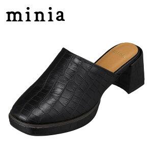 ミニア minia AS-1009 レディース靴 靴 シューズ 2E相当 サンダル バブーシュ ストーム入り 安定感 定番 デザイン ブラッククロコ TSRC