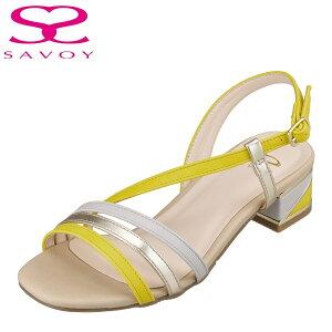 サボイ SAVOY SA94350 レディース靴 靴 シューズ E相当 サンダル ブロックヒール クッション性 快適 抜け感 華奢ストラップ ベージュコンビ TSRC