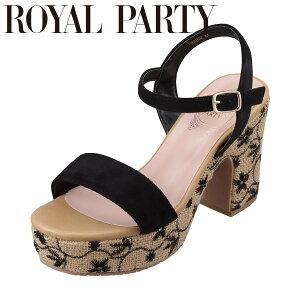ロイヤルパーティ ROYAL PARTY RP8002 レディース靴 靴 シューズ 2E相当 サンダル 花柄 刺繍 太めヒール クッション性 快適 ブラックスエード TSRC