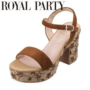 ロイヤルパーティ ROYAL PARTY RP8002 レディース靴 靴 シューズ 2E相当 サンダル 花柄 刺繍 太めヒール クッション性 快適 キャメルスエード TSRC