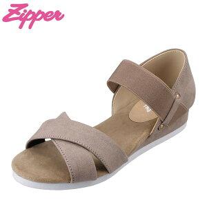 ジッパー Zipper ZP-5015 レディース靴 靴 シューズ 2E相当 サンダル ホールド感 履きやすい ゴム 人気 ブランド ブラウン TSRC