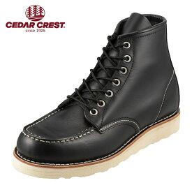 [セダークレスト] CEDAR CREST CC-1536 メンズ | ワ−クブ−ツ | 6インチモックトゥ | クッション性 | 大きいサイズ対応 28.0cm | ブラック TSRC