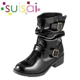 [スイサイ] suisai su-104 レディース | レインシューズ レインブーツ | ショートブーツ クシュクシュ | 雨靴 雨対策 梅雨 | ブラック×エナメル TSRC