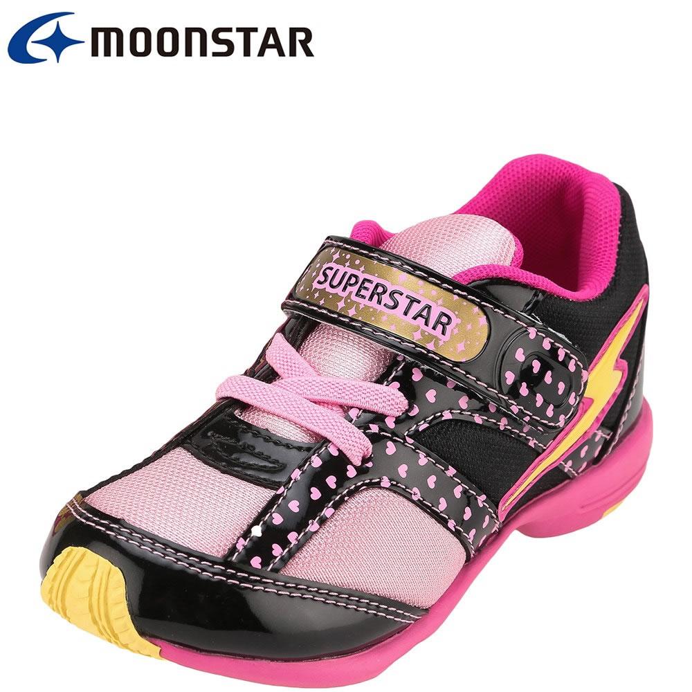 [スーパースター] SUPER STAR SS K6125C キッズ・ジュニア | キッズシューズ | 運動会 スポーツ | バネのチカラ 面ファスナー | 女児 女の子 | ブラック TSRC