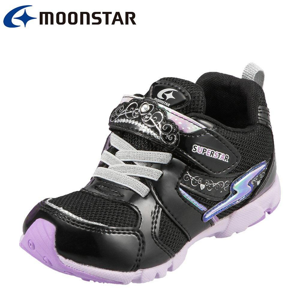 [スーパースター] SUPER STAR SS K722 キッズ ジュニア | キッズスニーカー | バネのチカラ 軽量 | 運動靴 体育 運動会 | 子供靴 女の子 女児 | ブラック TSRC