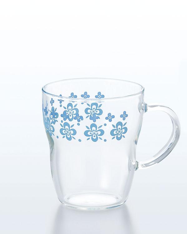 プリント 耐熱マグカップ(ブルー)(3個セット)【カフェ かわいいグラス 家庭用コーヒーメーカーに ジョッキ】★ホームライフポイントアップキャンペーン★[10P03Dec16]