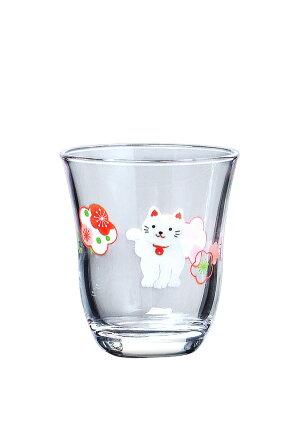 東洋佐々木ガラスめでたい酒杯(招き猫と梅柄)(3個セット)