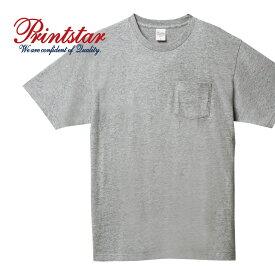tシャツ メンズ 半袖 Printstar プリントスター 5.6オンス ヘビーウェイト ポケットTシャツ 00109-PCT 109PCT ポケット付 tシャツ 厚手 通勤 通学 ユニフォーム