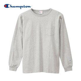 長袖 Tシャツ 無地 Champion チャンピオン ポケット付きロングスリーブTシャツ ロチェスター c3-q419 ポケ付 アメカジ オフホワイト ブラック グレー ネイビー