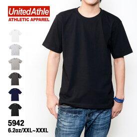 Tシャツ メンズ 無地 United Athle ユナイテッドアスレ 6.2オンス 5942 プレミアム Tシャツ メンズ 運動会 文化祭 チームTシャツ XS-XL ホワイト ブラック