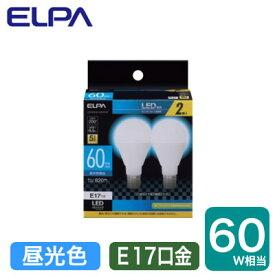 LDA7D-G-E17-G4105-2PLED電球 ミニクリプトンタイプ 6.5W 昼光色相当 E17口金 60W形相当 2個入りELPA 朝日電器 ランプ