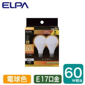 LDA7L-G-E17-G4106-2PLED電球 ミニクリプトンタイプ 6.5W 電球色相当 E17口金 60W形相当 2個入りELPA 朝日電器 ランプ