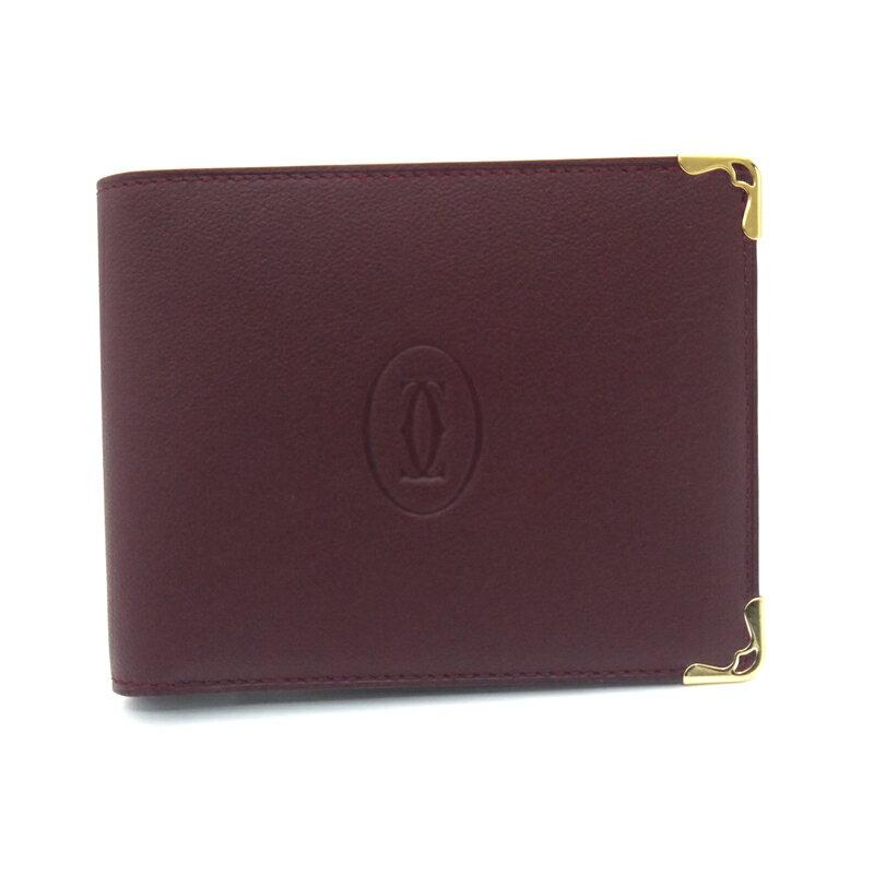 カルティエ/Cartier 二つ折り小銭入れ付財布・マスト・ボルドー ・L3001368 【即発送可能】