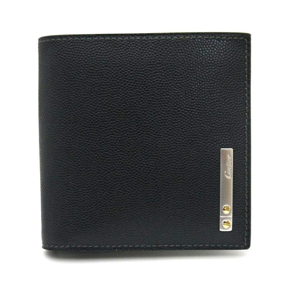 カルティエ/Cartier 二つ折り小銭入れ付財布・サントス・オニキス ・L3000772【即発送可能】