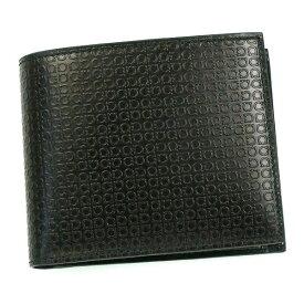フェラガモ/Salvatore Ferragamo 二つ折り小銭入れ付メンズ財布・MINIGANCINO・66-9148 NERO ブラック