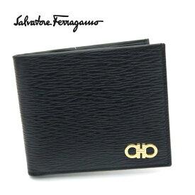 【新品】フェラガモ/Salvatore Ferragamo 二つ折り小銭入れ付メンズ財布・66-A065 ブラック/ゴールド金具【即発送可能】