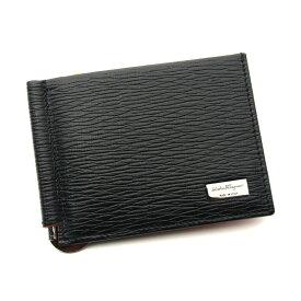 フェラガモ/Salvatore Ferragamo 二つ折りマネークリップ財布・66-8060 NERO ブラック【即発送可能】