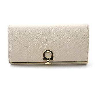 Ferragamo /Salvatore Ferragamo zipper wallet-22-4633 NEW BISQUE new Bisk
