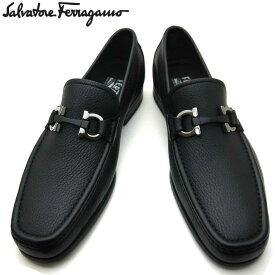 【新品】フェラガモ/Salvatore Ferragamo メンズ ローファー ビジネスシューズ 靴 モカシン ガンチーニ GRANDIOSO 0642848 NERO ブラック 【即発送可能】