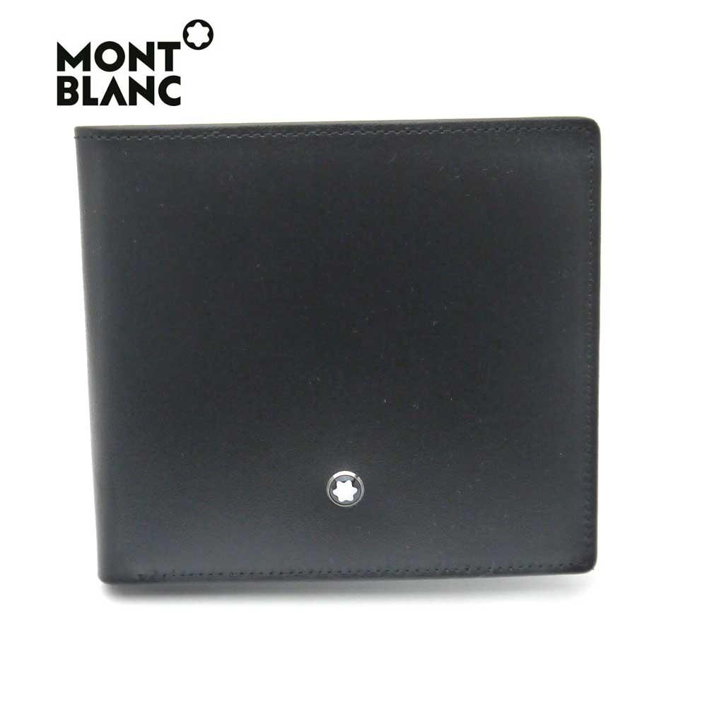 モンブラン/MONT BLANC 二つ折り財布 ビルフォールド 7163・ブラック【新品】【送料無料】