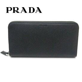 プラダ/PRADA メンズ ラウンドファスナー長財布 サフィアーノ 2ML317 053 F0002 ブラック【即発送可能】