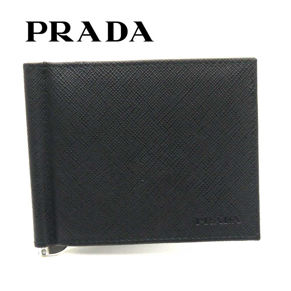 プラダ/PRADA マネークリップ 財布 サフィアーノ 2MN077 053 F0002 ブラック【即発送可能】