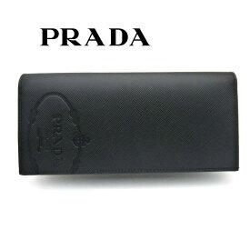 プラダ/PRADA メンズ ファスナー付長財布 サフィアーノトライアングル 2MV836 2MB8 F0002 ブラック【即発送可能】