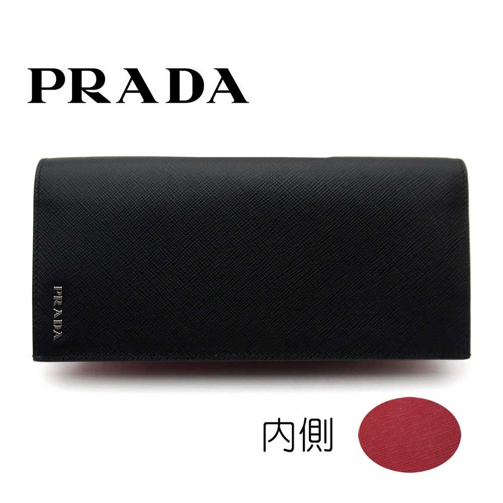 プラダ/PRADA メンズ ファスナー付長財布 サフィアーノ ビコローレ 2MV836 C5S F0D9A ブラック/内側レッド【即発送可能】
