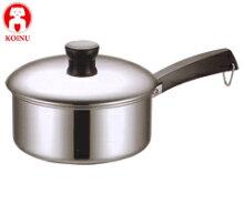 本間製作所/仔犬印18-0ソースパン20cm15020(電磁調理器対応・IH対応・KOINU・子犬印・片手鍋・18-0ステンレス・SUS430・クロームステンレス鍋シリーズ・業務用・厨房用品)