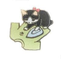 猫ピンズ猫ピンバッジアイロンシャツ