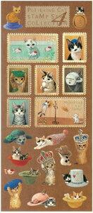 送料無料 メール便 猫のシール コレクション スタンプシールコレクション4 帽子 おしゃれ ぼうし 猫グッズ ネコグッズ 猫雑貨 ネコ雑貨 切手風シール カワイイ かわいい 可愛い ポタリング