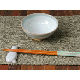 萩焼・めし茶碗・小(ブルー×ホワイト)