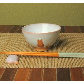 萩焼・ねこ(猫・ネコ)柄のめし茶碗(小)