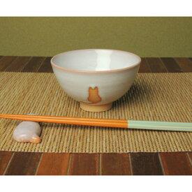 萩焼・ねこ柄のめし茶碗(大)
