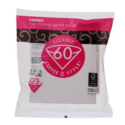 ハリオV60用ペーパーフィルター03(1〜6杯用)100枚入りサードウェーブで注目のドリップコーヒーに最適なペーパー