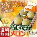 《送料無料》北海道産「らいでんメロン」 4〜6玉 良〜秀品 約8kg frt ○
