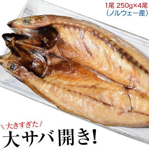 干物 訳あり 大きすぎた「大サバ開き」4尾 約1kg さば サバ 鯖 魚 開き セット 特大サイズ ギフト プレゼント 冷凍 sea ☆