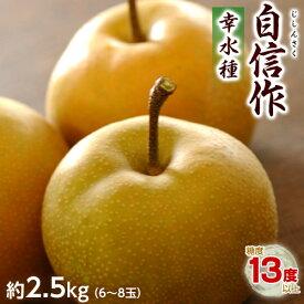 【糖度13度以上】梨 なし 幸水 栃木県 那須野産 自信作 6〜8玉 約2.5kg 冷蔵 送料無料