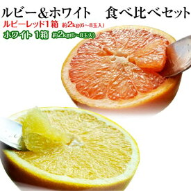 柑橘 フロリダ産 ゴールデンクラウン グレープフルーツ ルビー(赤)&ホワイト(白) 約2.5kg(6〜8玉)×2箱 送料無料