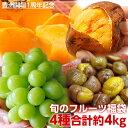 福袋 柿 ぶどう 安納芋 栗 豊洲市場開場一周年記念 旬のフルーツ福袋4種 合計約4kg 送料無料