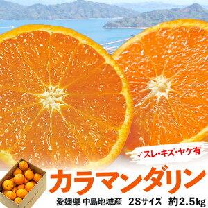 【カード代引き限定】愛媛県 中島地域産 カラマンダリン 2S 約2.5kg ※冷蔵 送料無料 目安として40〜45個程度