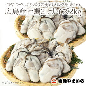楽天最安値に挑戦 広島産 牡蠣 2Lサイズ1kg 加熱用・解凍後約850g 2袋 合計2キロかき 牡蠣