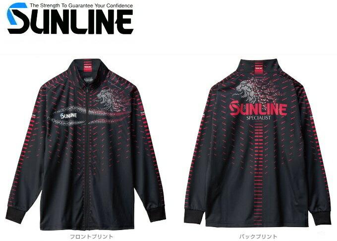 サンライン フルジップアップシャツ SUW-5568HT ブラック LLサイズ / セール対象商品 (4/26(金)12:59まで)
