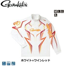 がまかつ 2WAYプリントジップシャツ(長袖) GM-3540 ホワイト×ワインレッド Mサイズ / ウエア フィッシング (送料無料) / セール対象商品 28日(金) 12:59まで