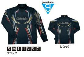 がまかつ 2WAYプリントジップシャツ (長袖) GM-3616 ブラック Mサイズ / ウェア (お取り寄せ商品) 【送料無料】 【セール対象商品】