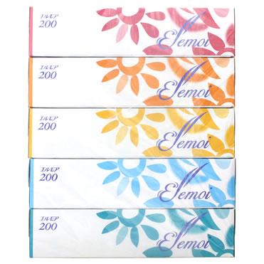 エルモア200 ティシュー ボックスティッシュ (2枚重ね200組:400枚)×5箱 ツルハドラッグ