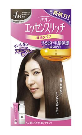 パオン エッセンスリッチ 乳液タイプ 白髪染め 白髪用早染めタイプ 4M 赤味を抑えたやや明るい栗色